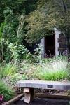 stone bench at duke gardens