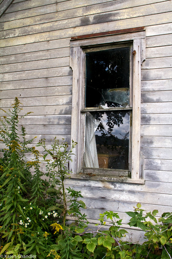 ancient window in abandoned house
