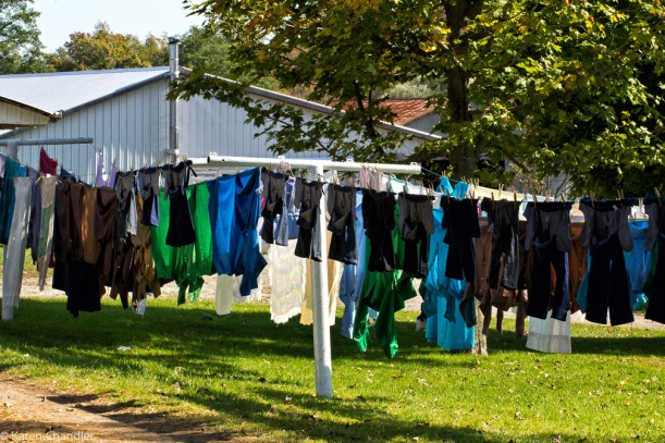 amish laundry on clothesline