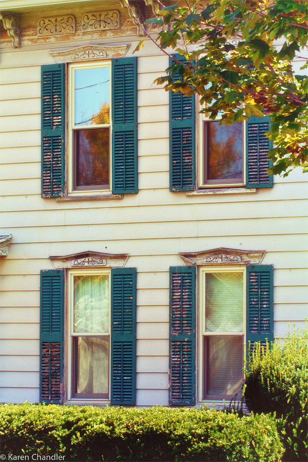 four windows in an old house